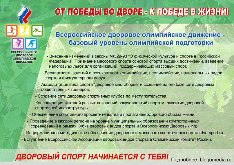 Национальный рейтинг развития дворового спорта в регионах